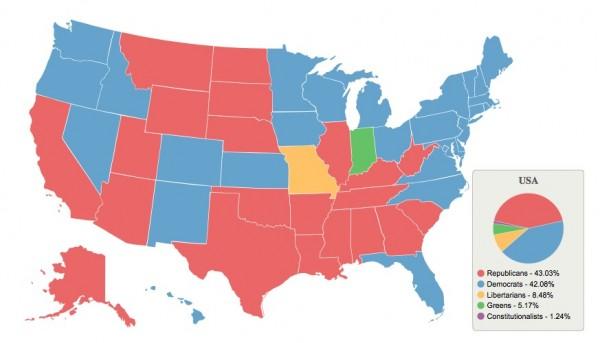 Intención de voto en Estados Unidos visualizado por GeoPollster