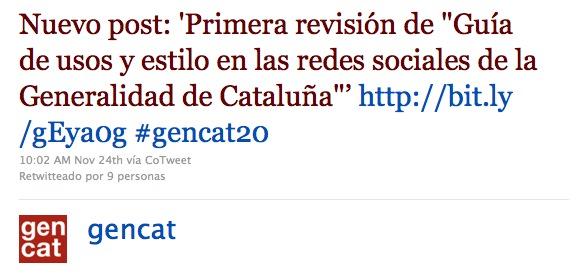 Twitter de la Generalitat de Catalunya