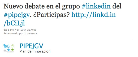 Twitter Plan Innovación Pública País Vasco
