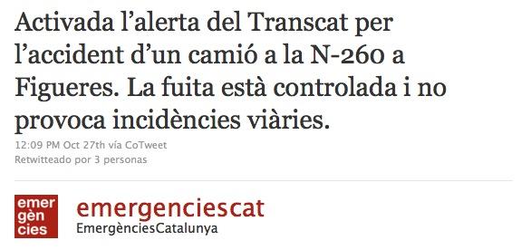 Twitter Emergències Gencat