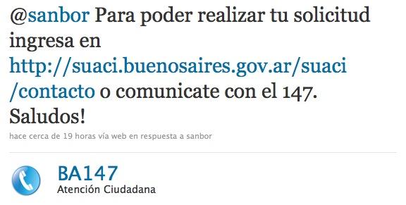 Twitter atención ciudadana Buenos Aires