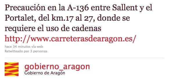Twitter Gobierno de Aragón