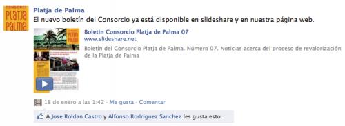 Boletín publicado en el muro de FB del Consorci de Platja de Palma