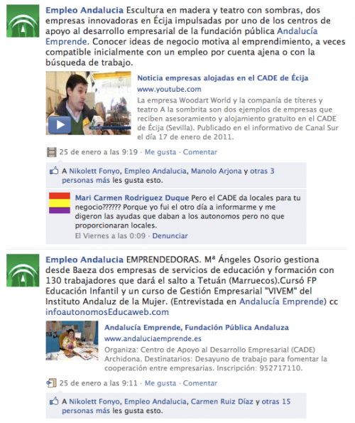 Frecuencia publicación Consejería Empleo Andalucía