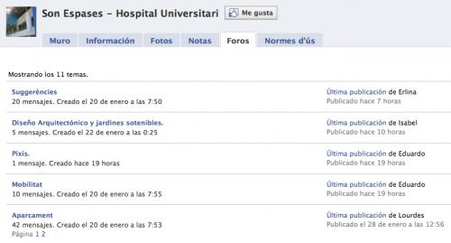 Foros del HU Son Espases en Facebook