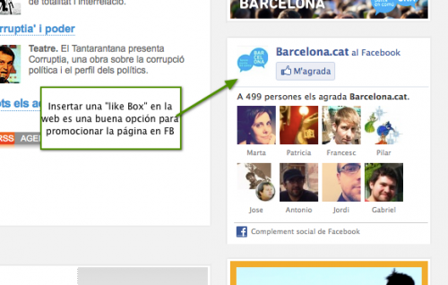 Like Box en la web del Ayuntamiento de Barcelona