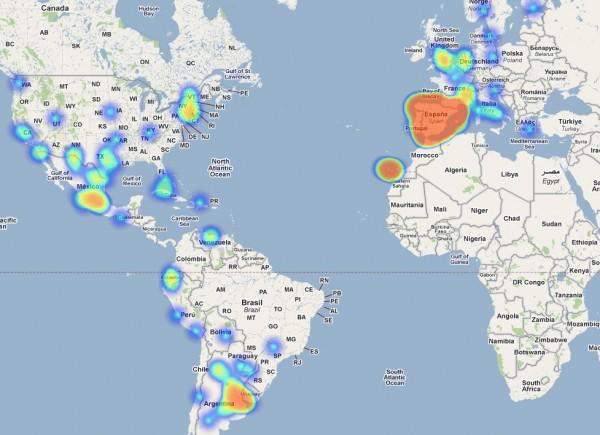 Posicionamiento de los contactos de FB en un mapa