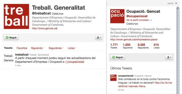 Twitter antiguo Departament de Treball de la Generalitat de Catalunya