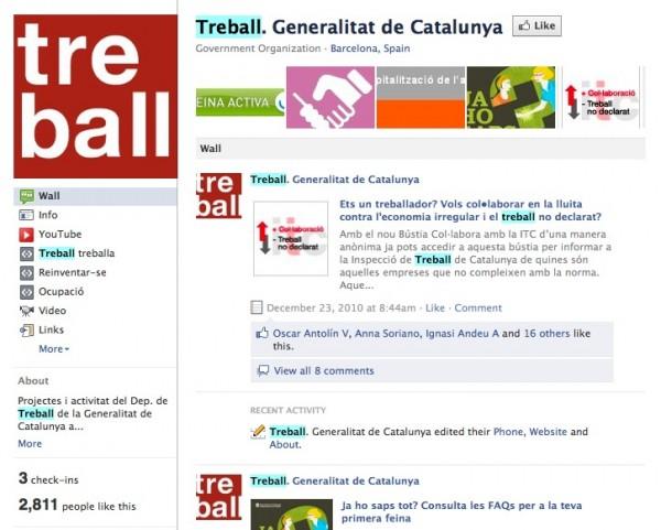 Antigua página del Departament de Treball de la Generalitat de Catalunya en Facebook