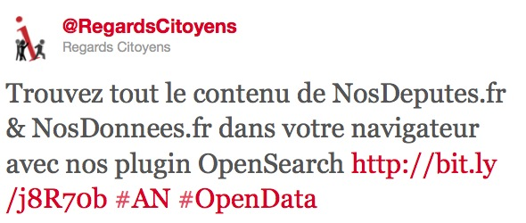 Tweet de RegardCitoyens sobre Open Search