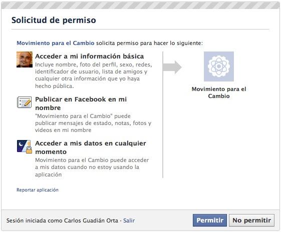 ceder espacio facebook al  PP