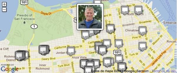 Google Maps interactivo de Kqed News para la alcaldía de San Francisco 2011