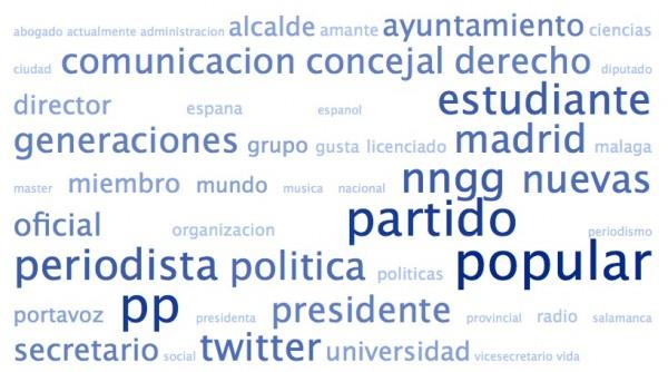 Nube de tags de las biografías de los amigos de @MarianoRajoy