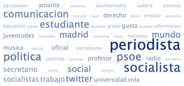 Nube de etiquetas realizada con las biografías de los amigos de @ConRubalcaba