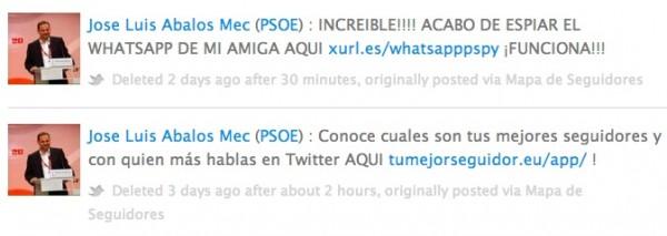 Tweets borrados de @abalosmecos Fuente:Politwoops.com